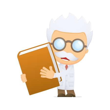 research study: funny cartoon scientist Illustration