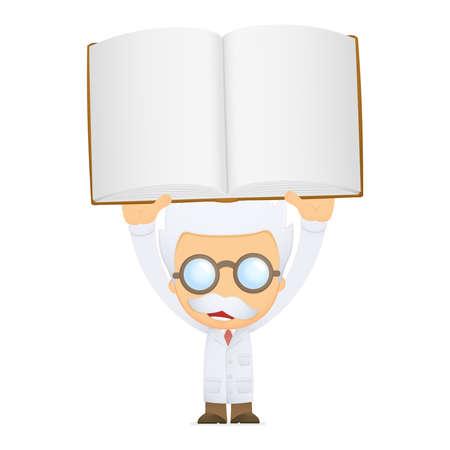 scientific literature: funny cartoon scientist Illustration