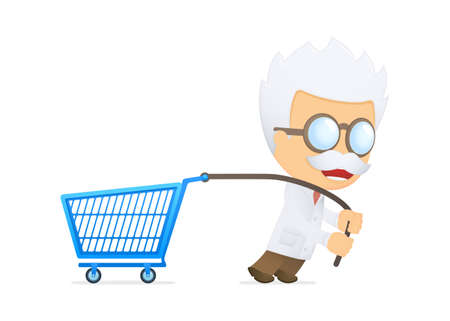 funny cartoon scientist Stock Vector - 13693108