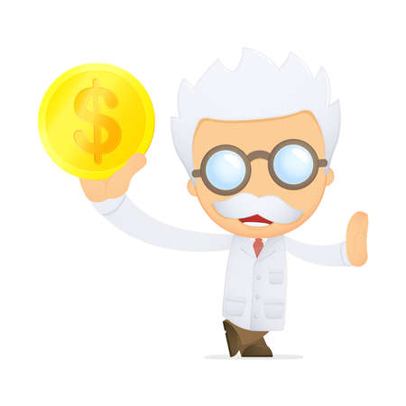 funny cartoon scientist Stock Vector - 13693069
