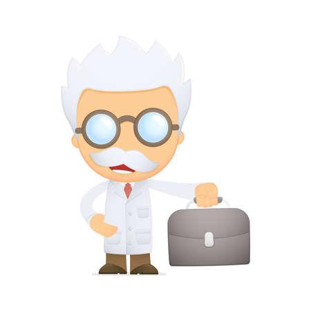 funny cartoon scientist Stock Vector - 13692836