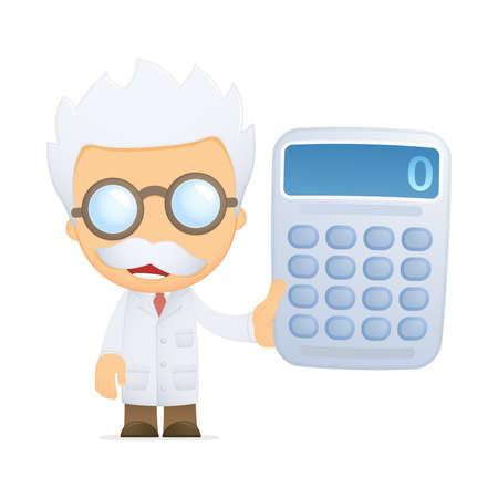 balanza de laboratorio: cient�fico de divertidos dibujos animados