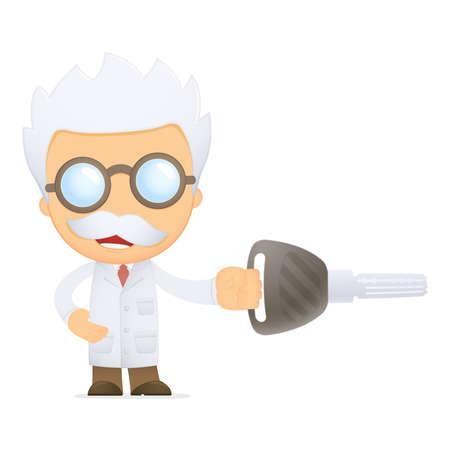 funny cartoon scientist Stock Vector - 13692895