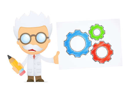 funny cartoon scientist Stock Vector - 13693270