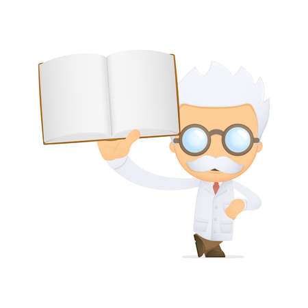 scientific literature: funny cartoon scientist Illustration