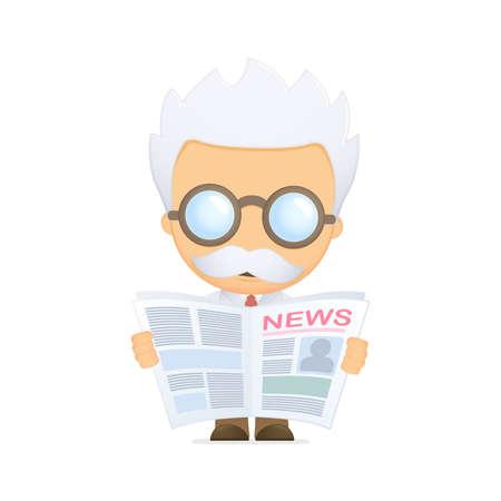 old people reading: funny cartoon scientist Illustration