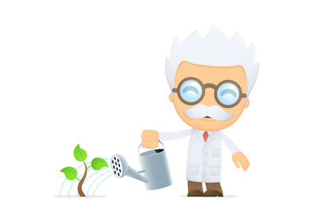 funny cartoon scientist Stock Vector - 13693169