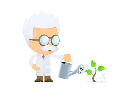 funny cartoon scientist Stock Vector - 13693213