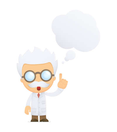funny cartoon scientist Stock Photo - 13693658