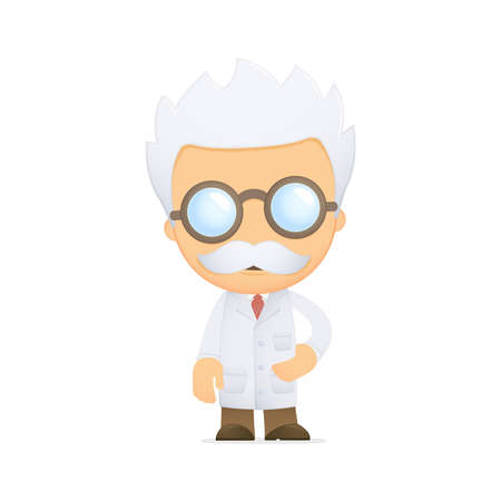 mathematician: funny cartoon scientist Stock Photo