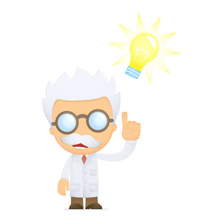 funny cartoon scientist Vector