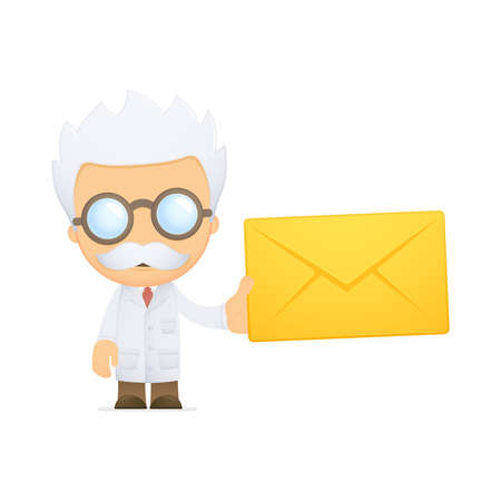 funny cartoon scientist Stock Vector - 13691021