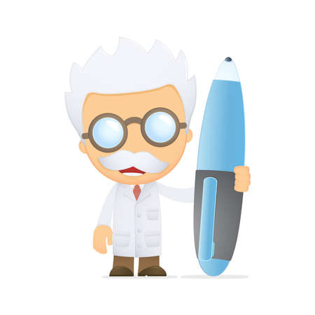 caligraphy: funny cartoon scientist Illustration