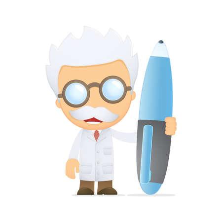 scienziati: scienziato divertente cartone animato Vettoriali