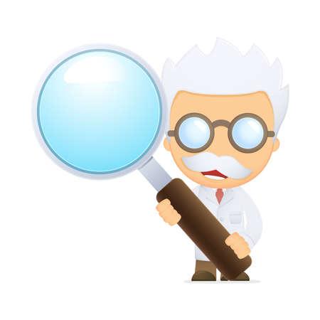 lense: funny cartoon scientist Illustration