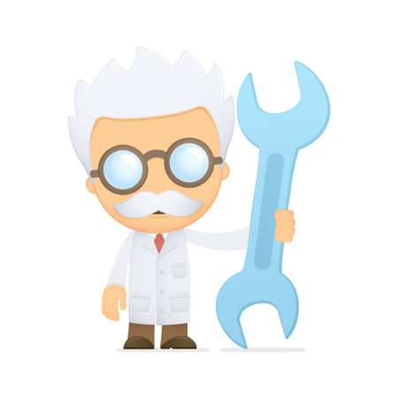funny cartoon scientist Illustration
