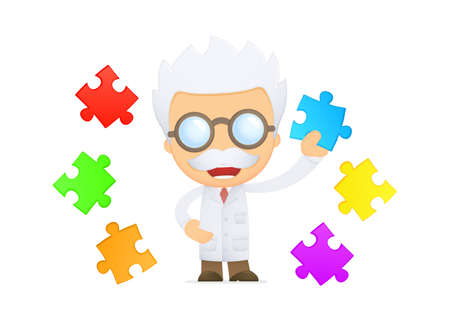 funny cartoon scientist Stock Vector - 13693049