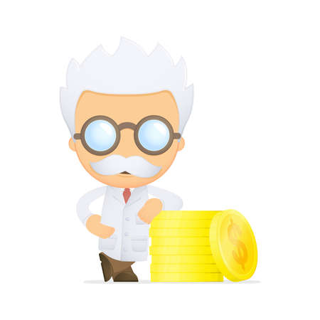 funny cartoon scientist Stock Vector - 13693236