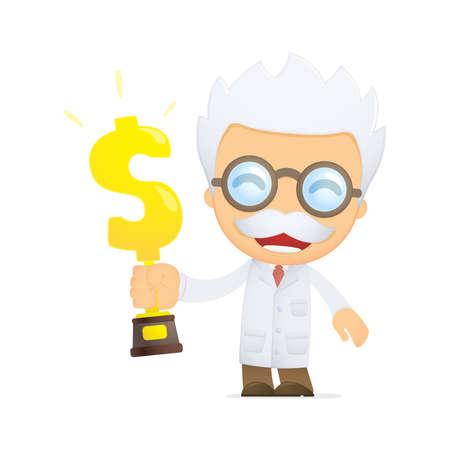 over lab: funny cartoon scientist Illustration
