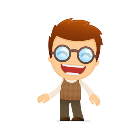 funny cartoon genius Vector