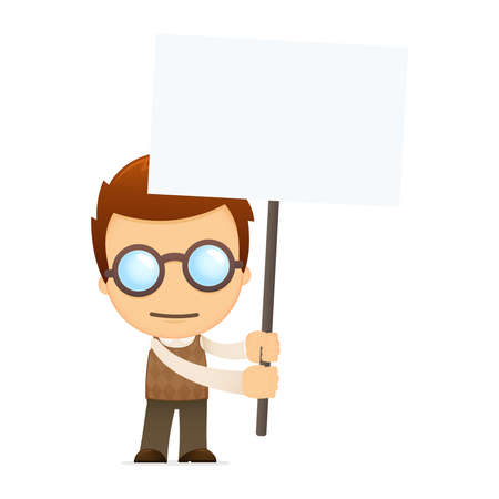 nerd glasses: funny cartoon genius Illustration