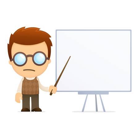 college professor: funny cartoon genius Illustration