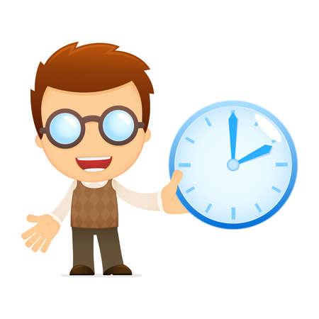 clock cartoon: funny cartoon genius Illustration