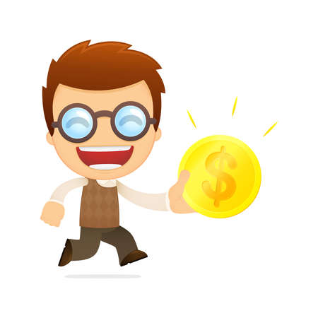 funny cartoon genius Stock Vector - 13701799