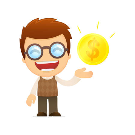 funny cartoon genius Stock Vector - 13701776
