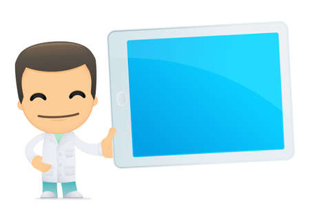 doctor tablet: funny cartoon doctor