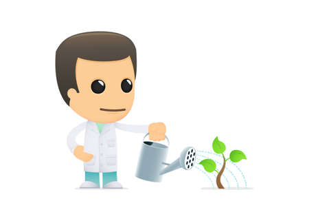 seedling growing: funny cartoon doctor