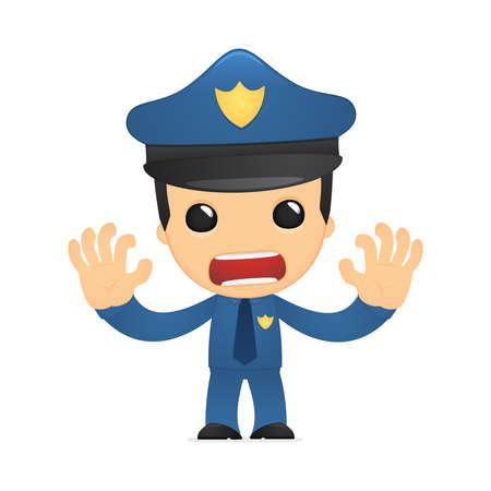 seguridad laboral: policía de divertidos dibujos animados