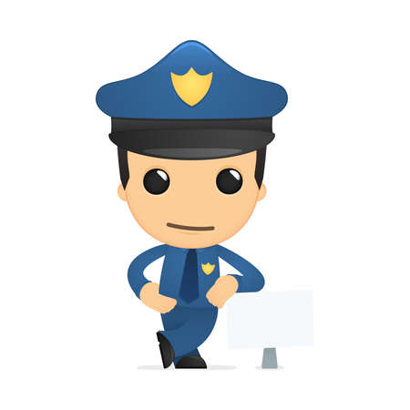 funny cartoon policeman Stock Vector - 13889886