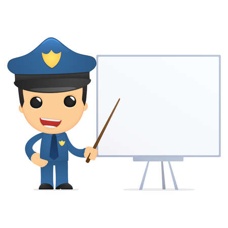 security service: funny cartoon policeman