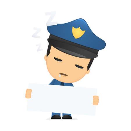 sleepy man: funny cartoon policeman