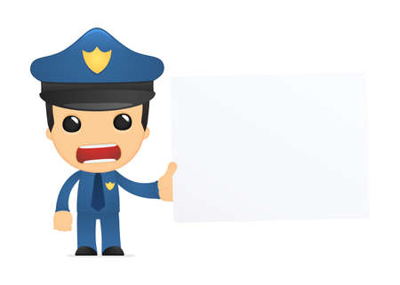 funny cartoon policeman Stock Vector - 13889883