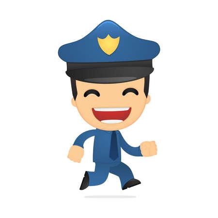 movement control: funny cartoon policeman