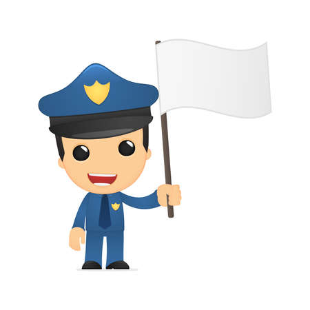 funny cartoon policeman Stock Vector - 13889947