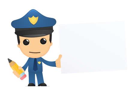 grafito: policía de divertidos dibujos animados
