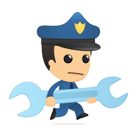 funny cartoon policeman Stock Vector - 13889852