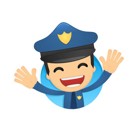 joking: funny cartoon policeman