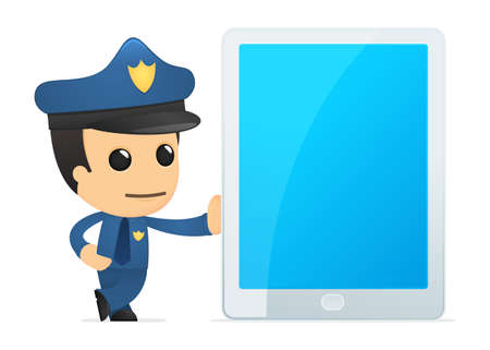 security monitor: funny cartoon policeman
