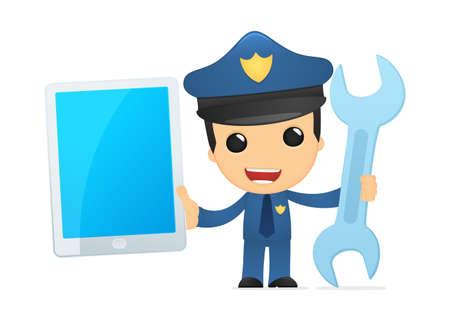 computer crime: funny cartoon policeman