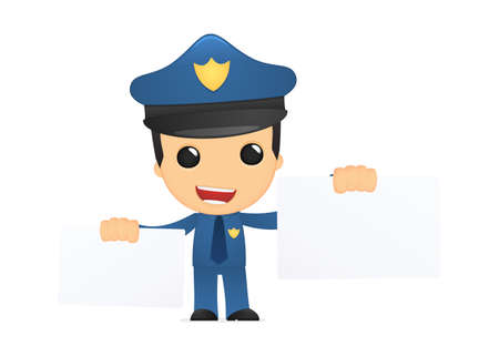 funny cartoon policeman Stock Vector - 13889872