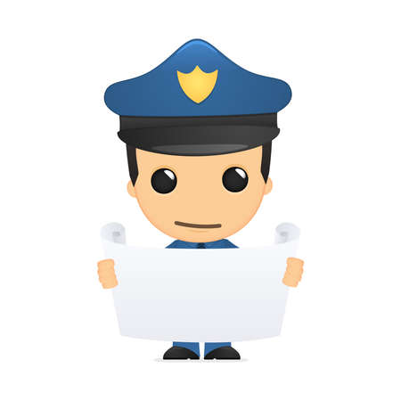 funny cartoon policeman Stock Vector - 13889891