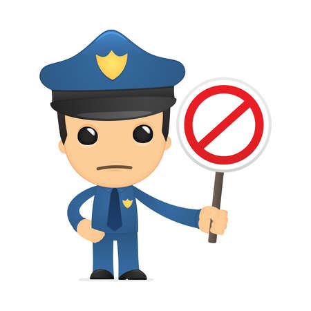 règle: policier dr�le de bande dessin�e