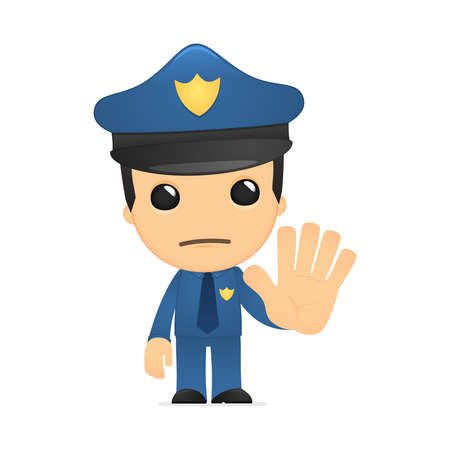 gorra policía: policía de divertidos dibujos animados