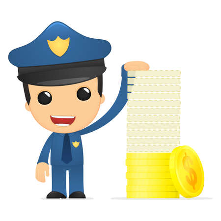 funny cartoon policeman Stock Vector - 13890191