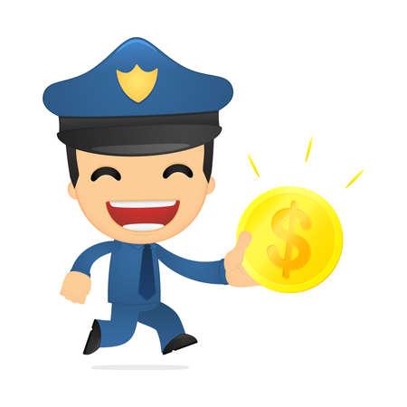 funny cartoon policeman Stock Vector - 13890115
