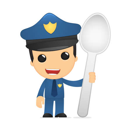 funny cartoon policeman Stock Vector - 13889970